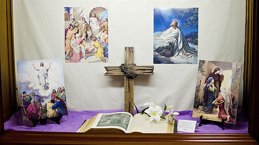 Easter display outside the church office